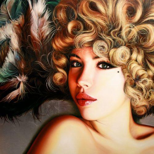 art lips girl eyes face mole christiane vleugels wallpaper