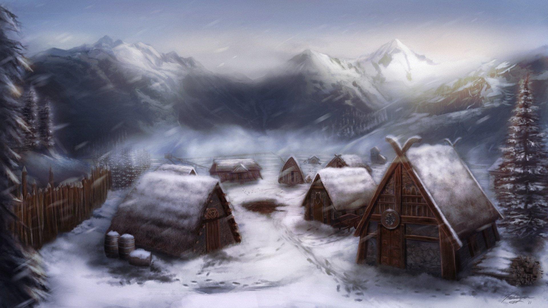 Snow Village Settlement The Vikings At Home Art Michael Davini Wallpaper 1920x1080 1009570 Wallpaperup