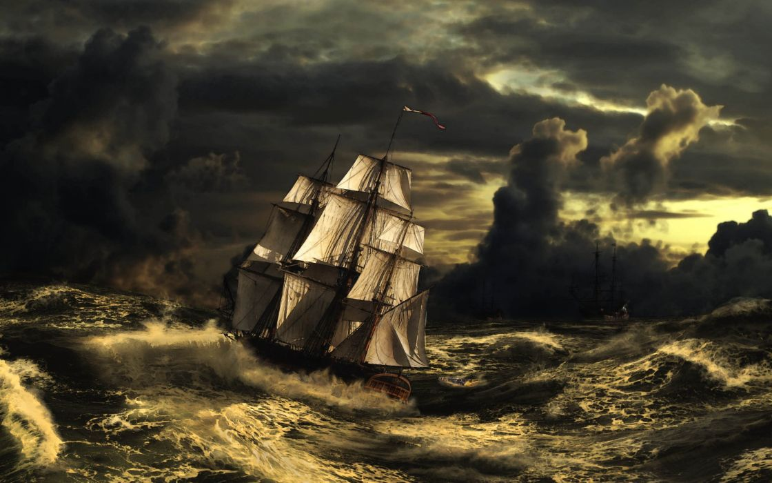 waves clouds sailboat storm art sea sky stormy wallpaper