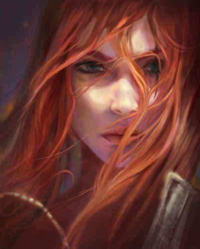fantasy beautiful girl red hair face blue eyes wallpaper