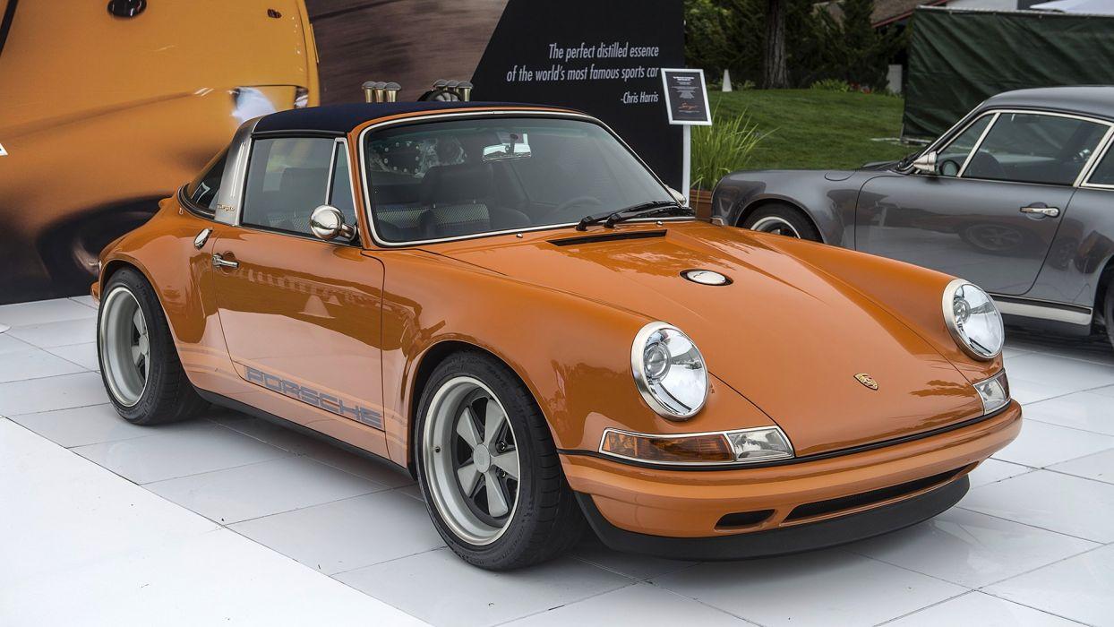 911 cars luxemburg orange porsche singer targa wallpaper