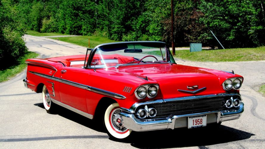 1958 CHEVROLET IMPALA CONVERTIBLE cars red classic wallpaper