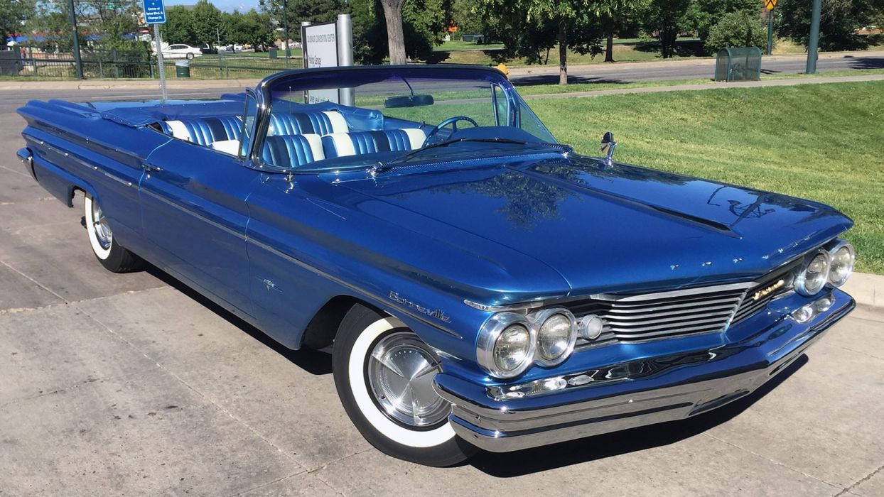 1960 PONTIAC BONNEVILLE CONVERTIBLE classic cars blue wallpaper
