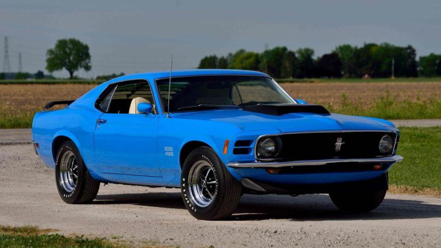 1970 FORD MUSTANG BOSS 429 FASTBACK cars blue wallpaper