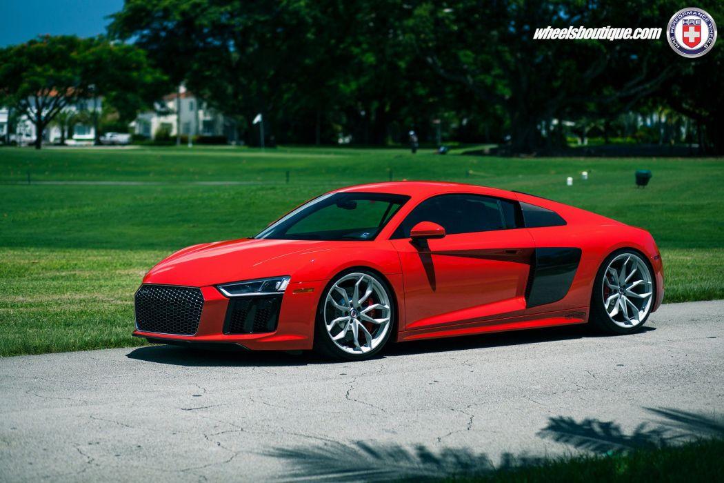 Audi R8 V10 cars red HRE wheels wallpaper