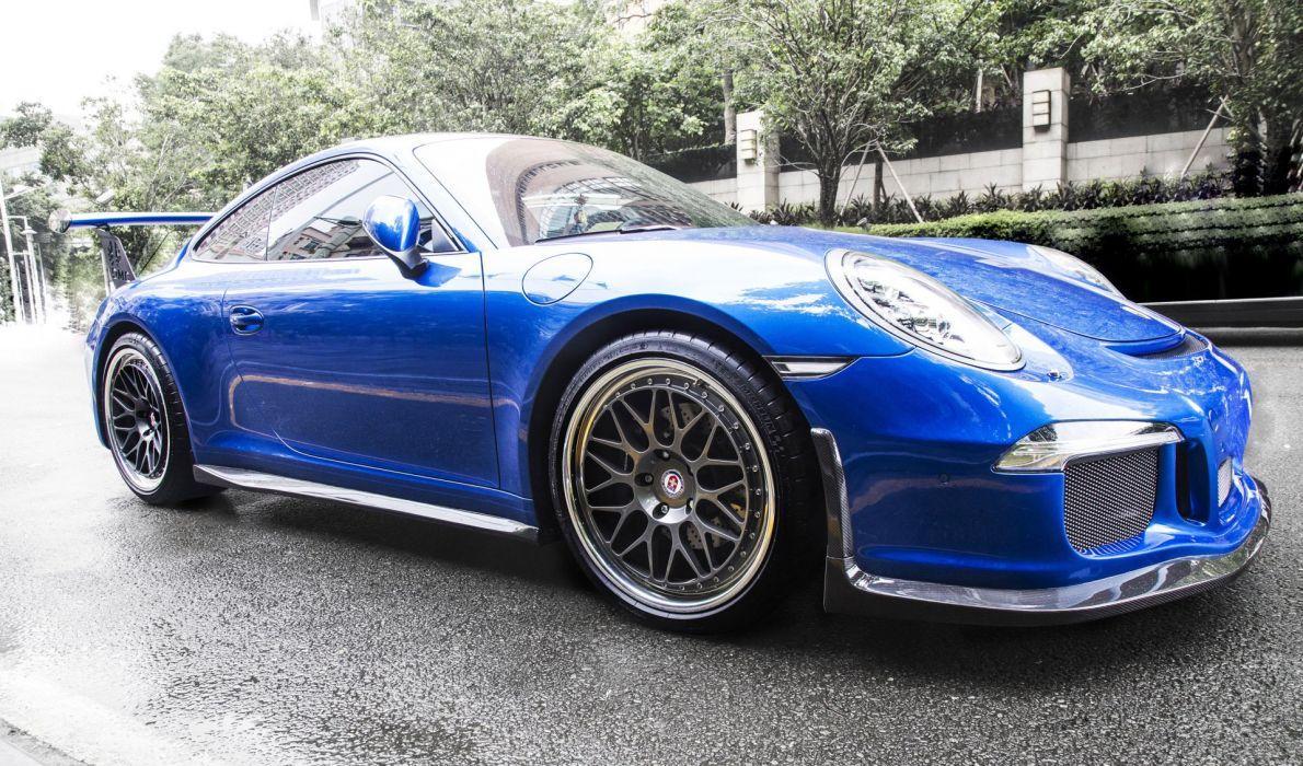 2016 DMC Porsche 991 GT3 RS cars blue modified wallpaper