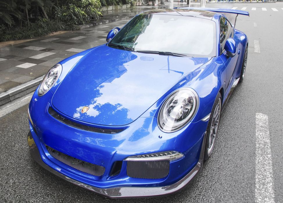 2016 DMC Porsche 991 GT3 RS cars blue modified wallpaper