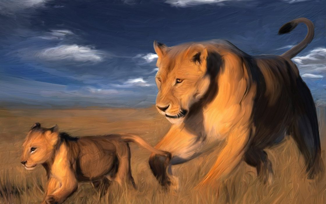 animals lions of painter's drawing painting art paint nature wallpaper