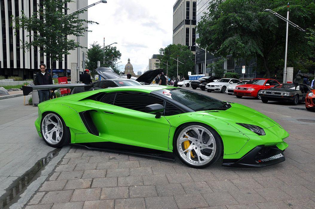 Liberty Walk Lamborghini Aventador cars supercars modified green wallpaper