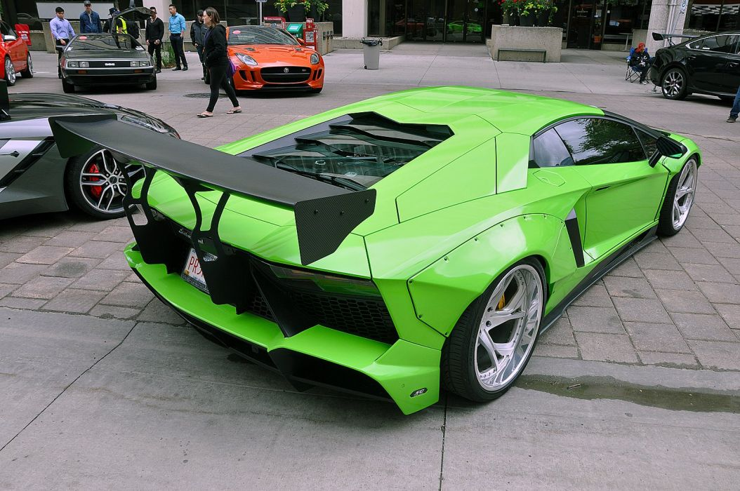 Liberty Walk Lamborghini Aventador cars supercars modified green wallpaper