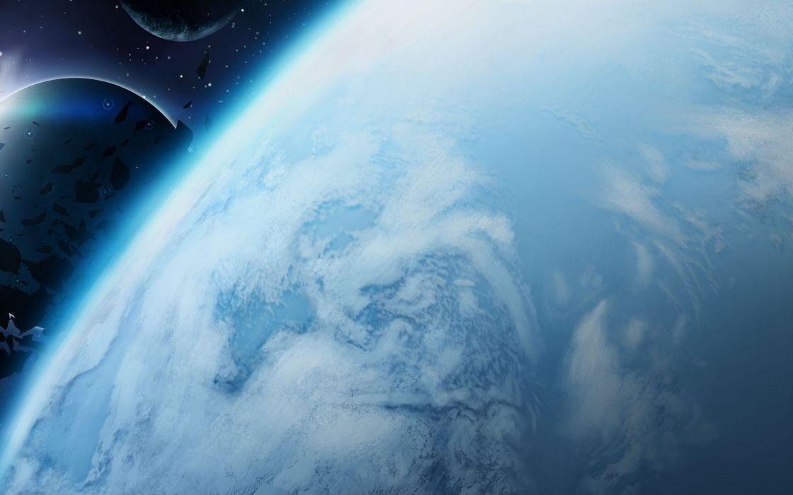 Art asteroids satellites space planet wallpaper