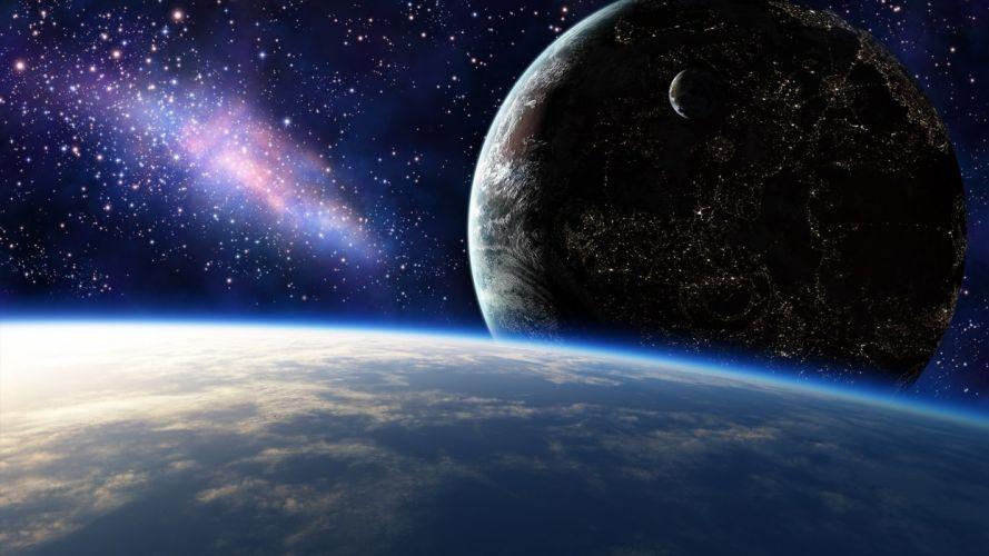 stars lights art planet space city wallpaper