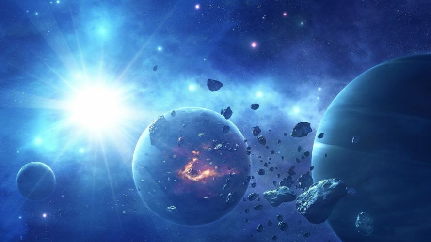 star stars asteroids planets art bright wallpaper