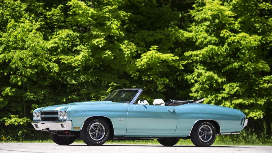1970 CHEVROLET blue CHEVELLE LS6 CONVERTIBLE cars classic wallpaper