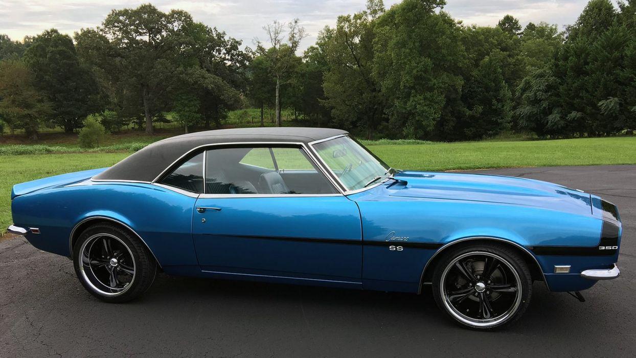 1968 CHEVROLET CAMARO SS cars blue wallpaper