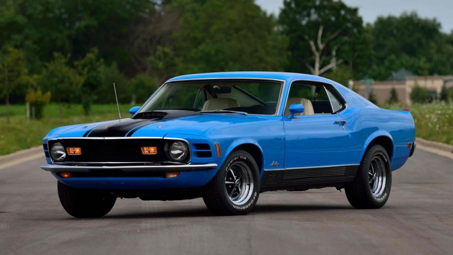 1970 FORD MUSTANG MACH 1 FASTBACK cars blue wallpaper