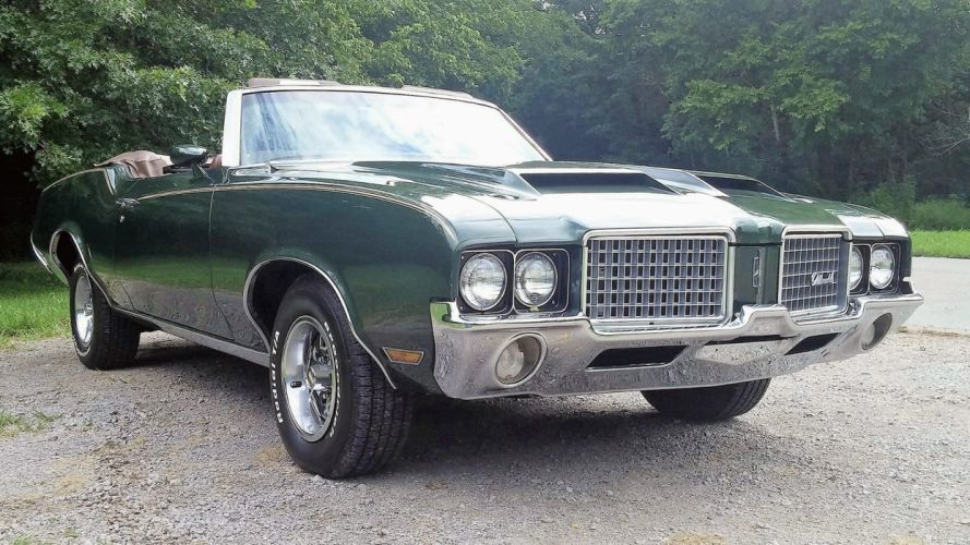 1972 OLDSMOBILE CUTLASS SUPREME CONVERTIBLE cars green wallpaper