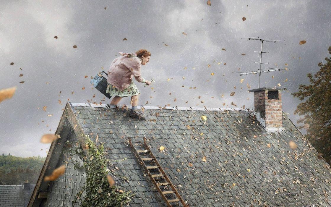abstracto humor abuela tejado antena wallpaper