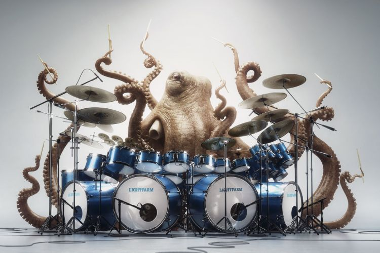 abstracto humor pulpo tocando bateria wallpaper