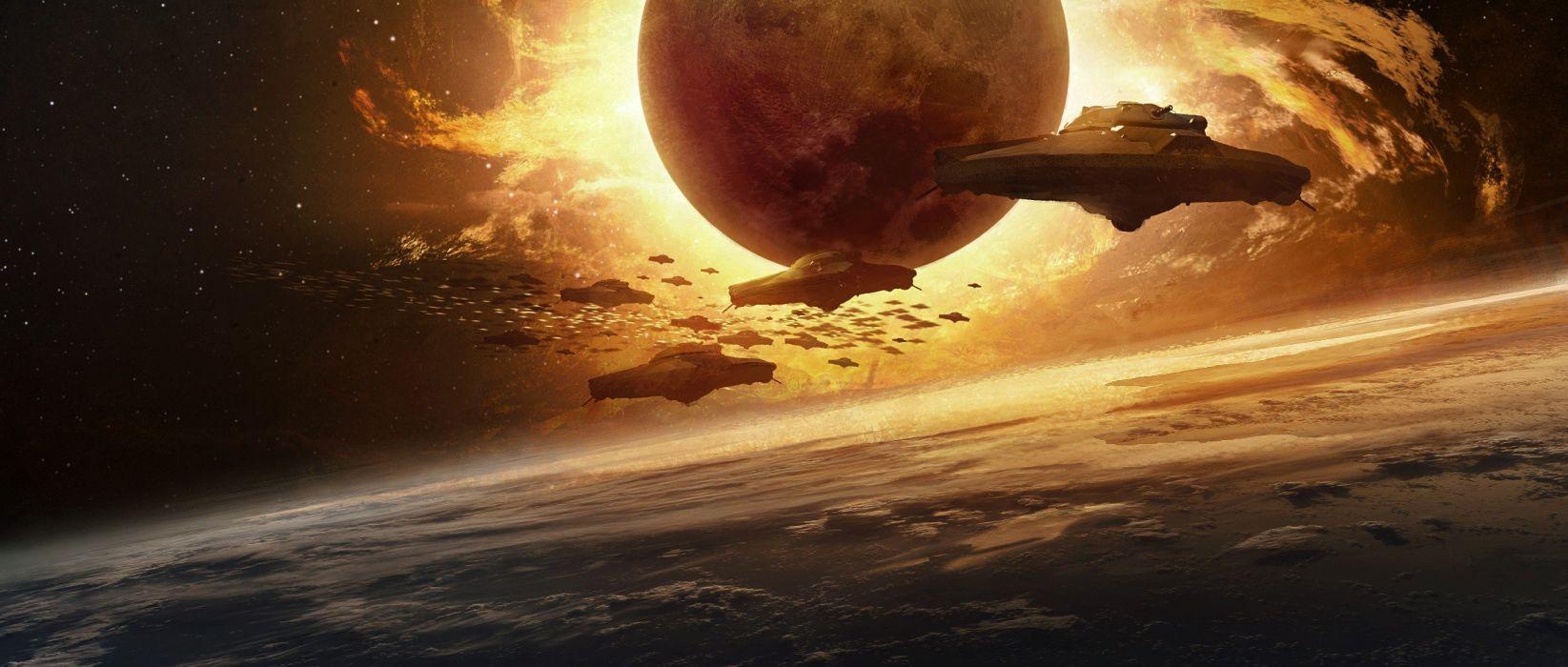 abstracto sci-fi nave planeta wallpaper