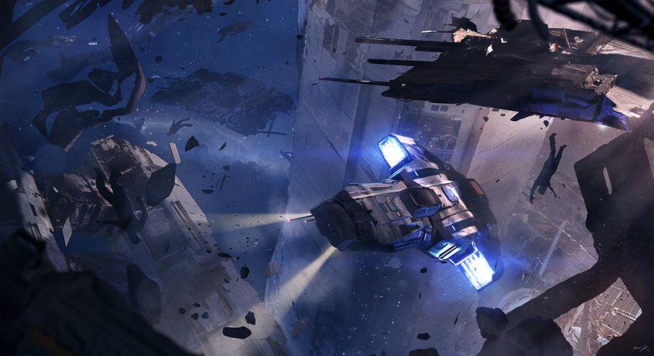 batalla espacial abstracto sci-fi wallpaper