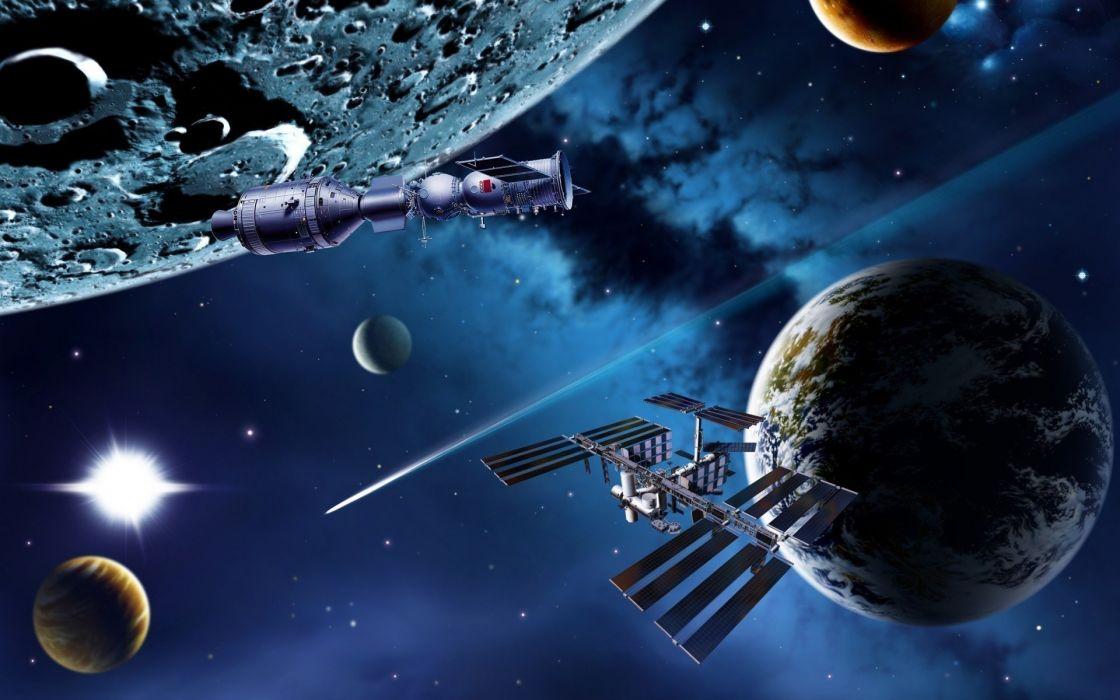 space render planets ships art wallpaper
