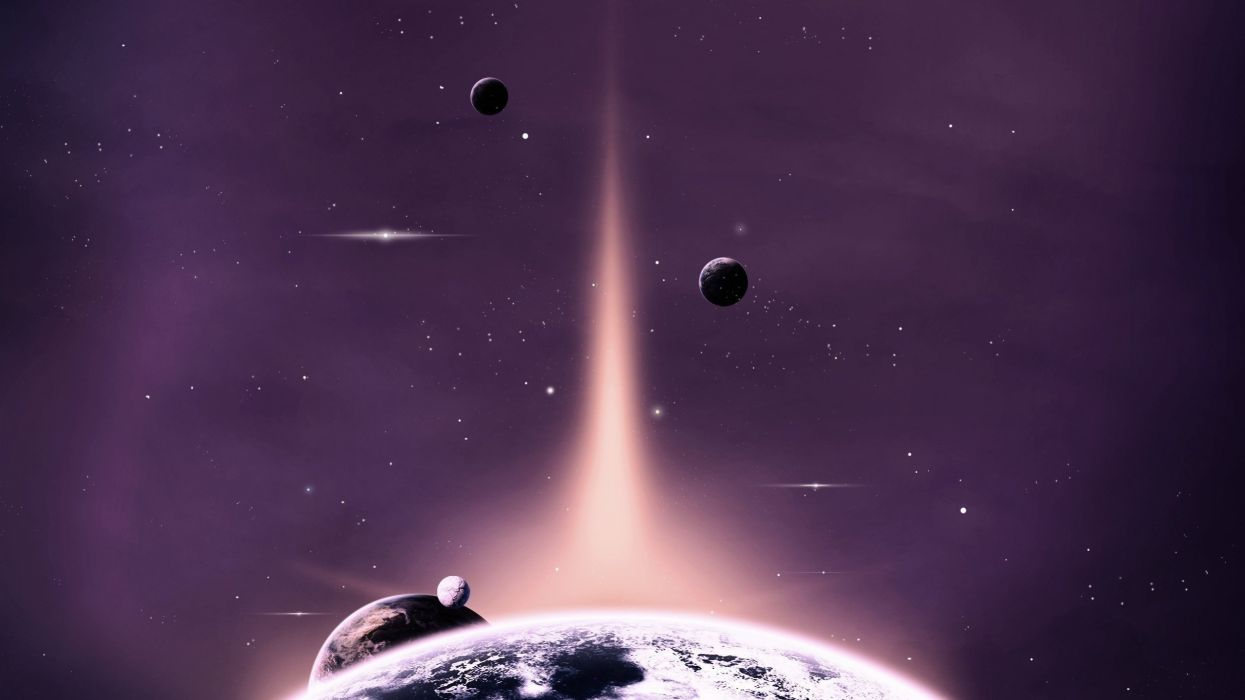 space planets stars space art shine wallpaper