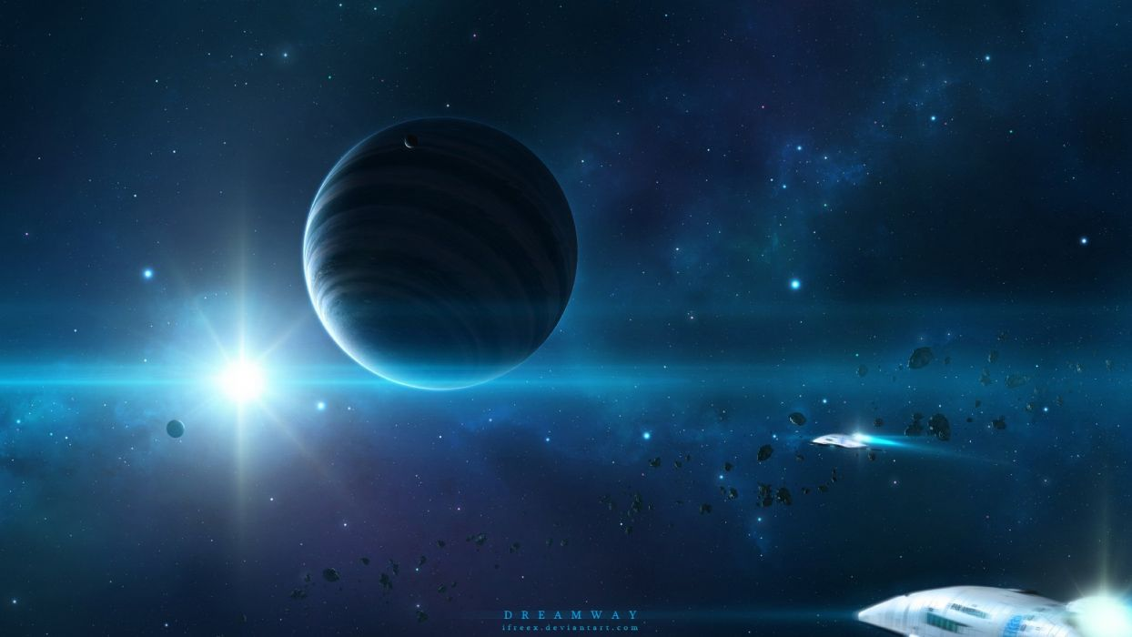 art space planets stars spaceships space wallpaper