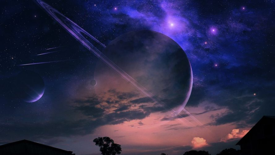 night home landscape planet tree starry sky wallpaper