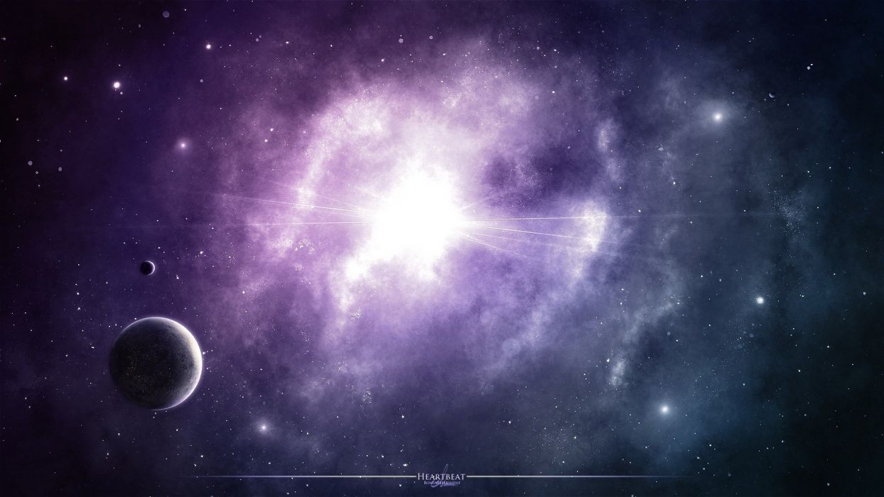 purple stars glow space nebula wallpaper
