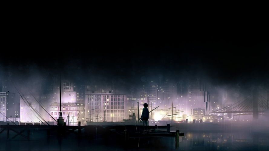 darkness dark city man the docks boy blur sky water cloud wallpaper