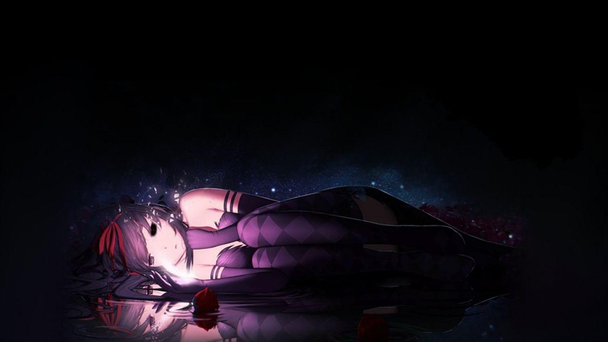 girl lonely tokyo ghoul dark black blur rose woman space wallpaper