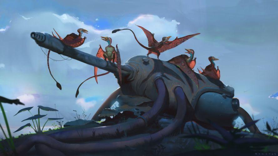 abstracto sci-fi armas aves alienigenas wallpaper