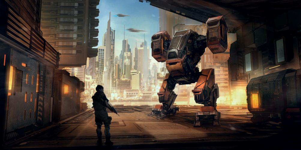 abstracto sci-fi robot ciudad futuro wallpaper