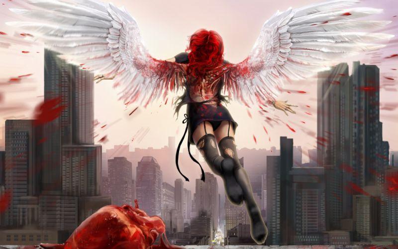 dark horror gothic love romance angels gore blood girl women cities 1920x1200 wallpaper