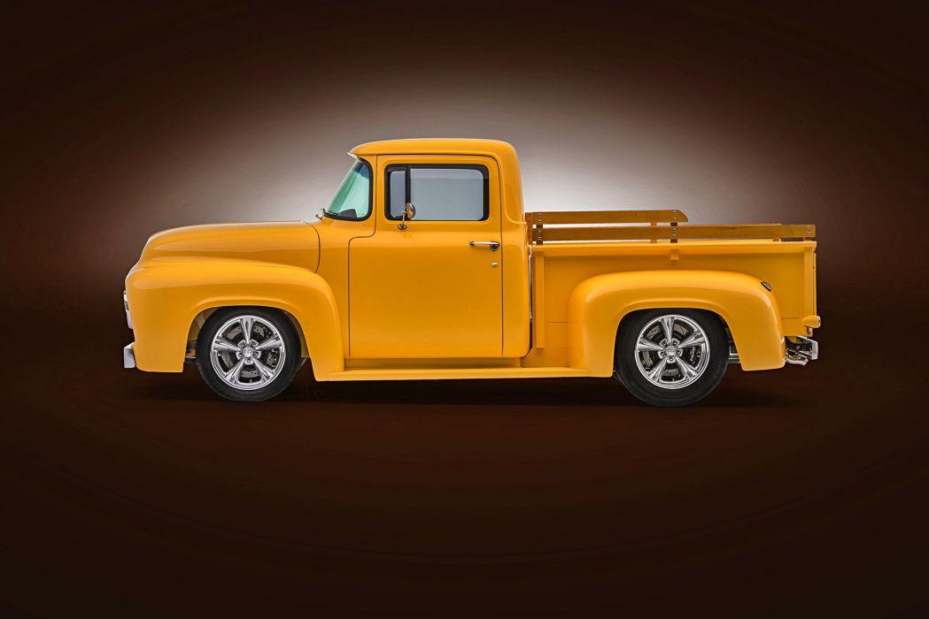 1956 Ford F-100 truck pickup yellow  wallpaper