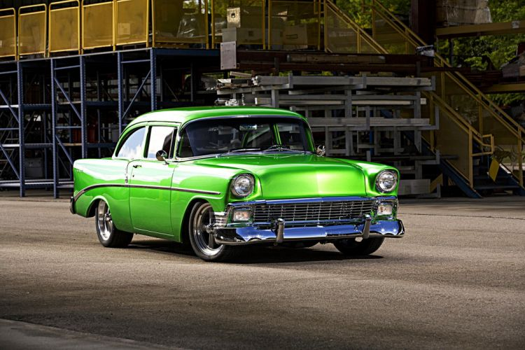 1956 chevy Bel Air cars classic green modified wallpaper