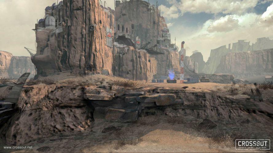CROSSOUT game sci-fi technics science fiction futuristic apocalyptic post mmo online action fighting 4x4 offroad race racing cyberpunk battle combat alien military battle war wallpaper