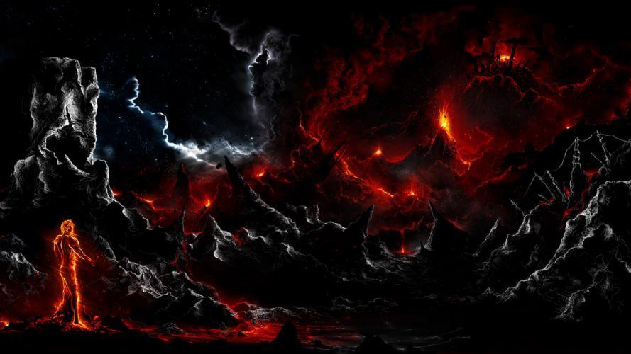 alberto vangelista rock man fire dark art lava clouds wallpaper