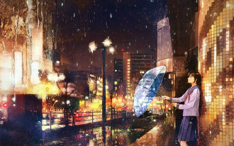 anime city at night painting girl wallpaper