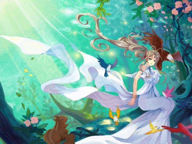 ah my goddess anime series dress girl animal wallpaper