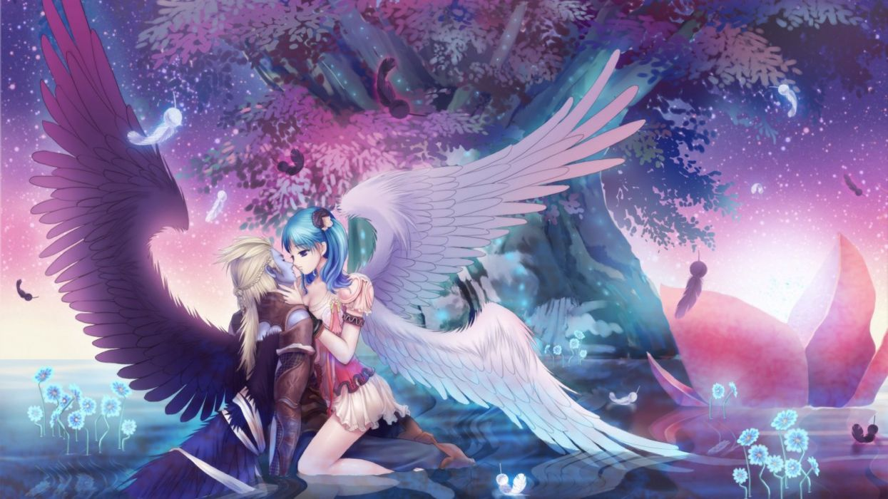A kiss from angel anime fantasy couple love wallpaper
