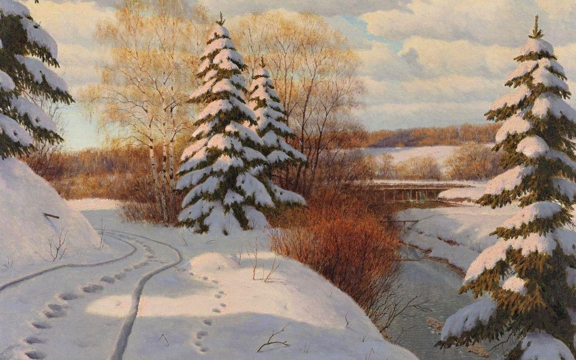 painting river snow winter traces of the Boris Bessonov landscape wallpaper