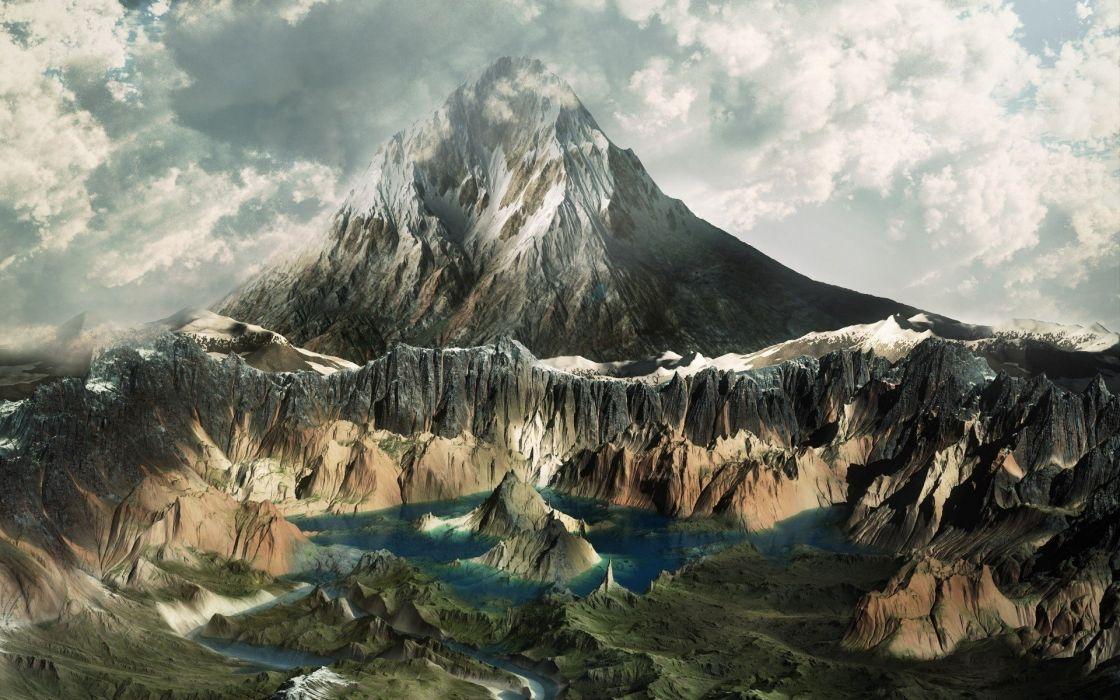 mountains clouds lake sky river wallpaper