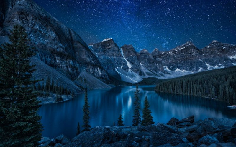 mountain river lake night forest nature wallpaper