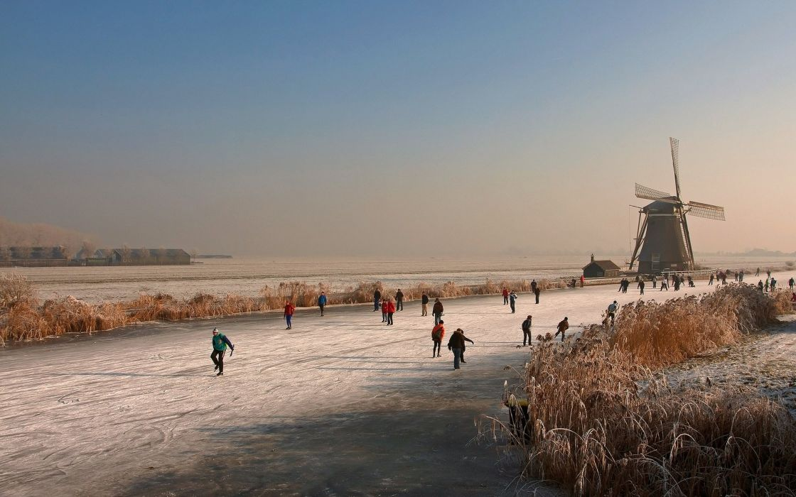 holland winter ice mill river ice rink wallpaper