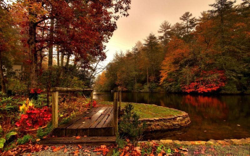 fall river forest bridge wallpaper