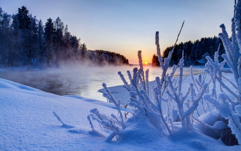 nature white snow river sunset winter sky clouds wallpaper
