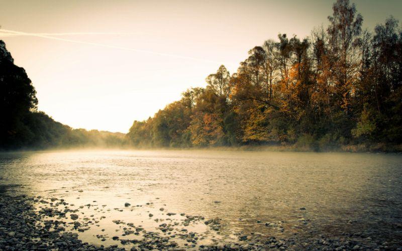 forest river morning autumn fog wallpaper