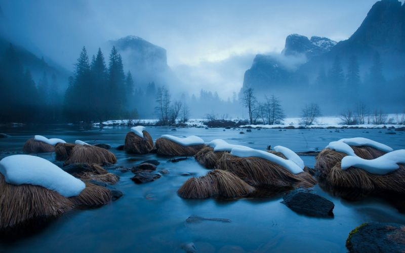 snow river rocks mountains water fog wallpaper